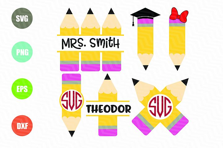 Pencil SVG Pencil Monogram Frame SVG
