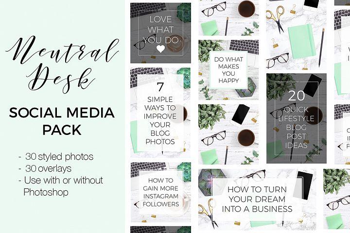 Social Media Kit - Neutral Desk Theme