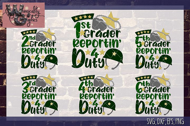Reportin For Duty 1st Through 6th SVG, DXF, PNG, EPS Comm