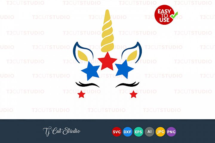 Unicorn head svg, unicorn face svg, 4th of July svg, Files for Silhouette Cameo or Cricut, Commercial & Personal Use.
