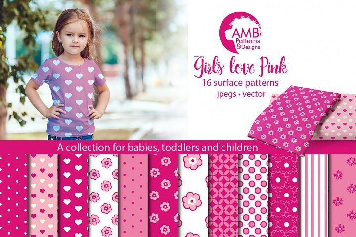 Girls love pink patterns, Girls love pink papers, AMB-817