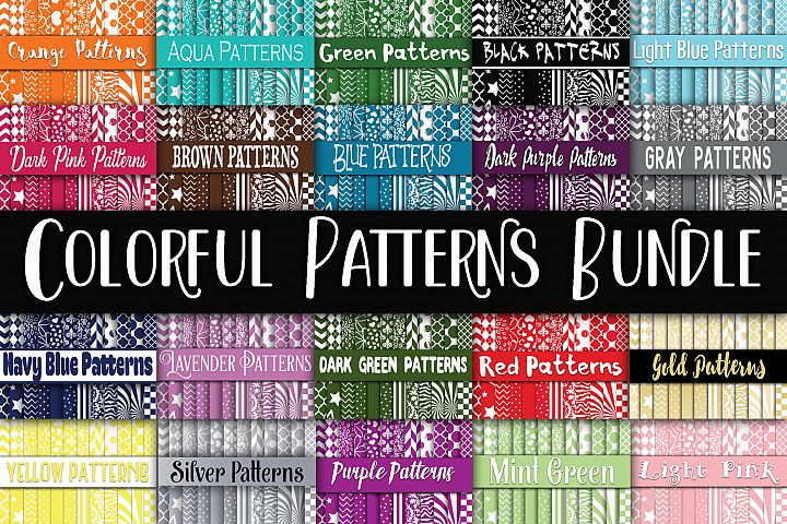 Colorful Patterns Digital Paper Bundle - Includes 480 papers!