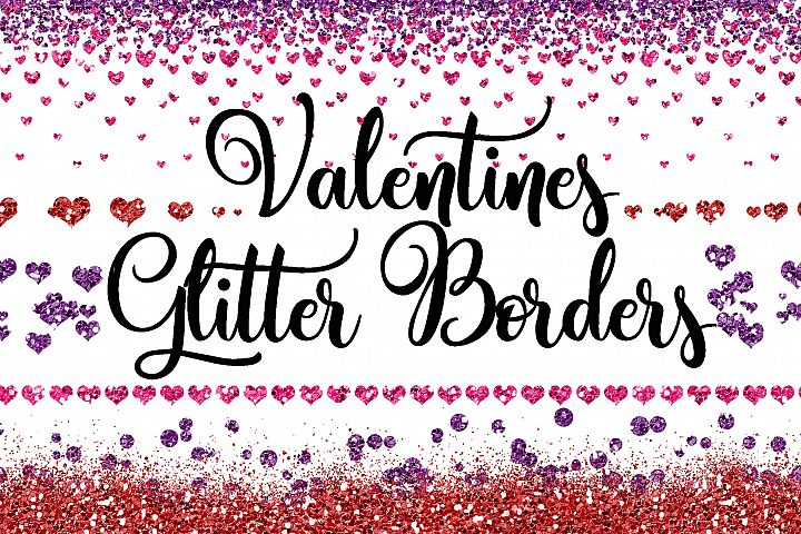 Valentine Glitter Borders PNG Overlays - Includes 60 pink, purple and red clipart images!
