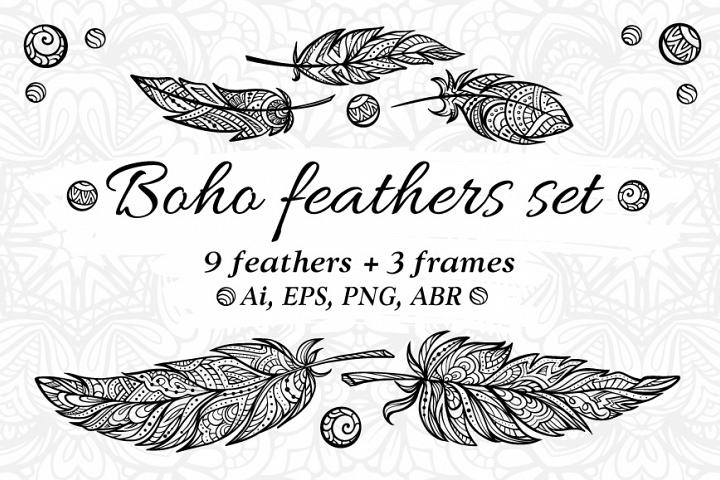 Boho feathers set