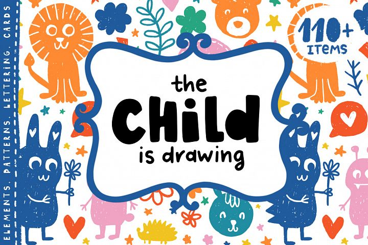 The Child is Drawing - Kids Clipart