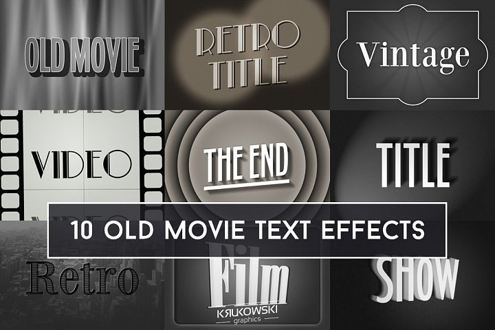 Old Movie Title Text Effect Mockup