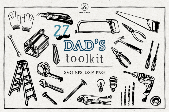 Dads Toolkit Hand Drawn Illustration Pack - SVG DXF EPS PN
