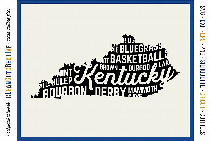 Kentucky State design - SVG DXF EPS PNG - Cricut & Silhouette - clean cutting files