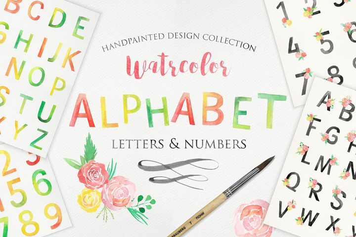 Watercolor Alphabet and Numbers