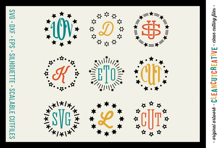 Circle Monogram Star Frames - SVG DXF EPS - for Cricut and Silhouette Cameo - clean cutting digital files