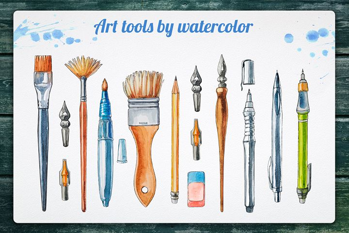 Art tools by watercolor