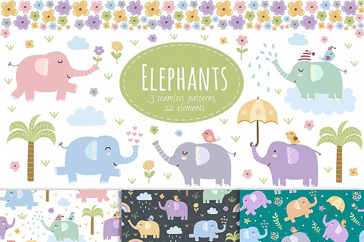 Elephants: seamless patterns & clipart