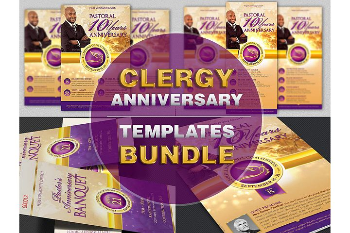 Clergy Anniversary Template Bundle