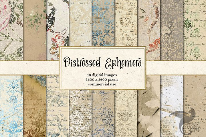 Distressed Ephemera Digital Paper