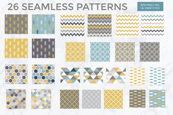 26 vector patterns Trendy Colors example 3