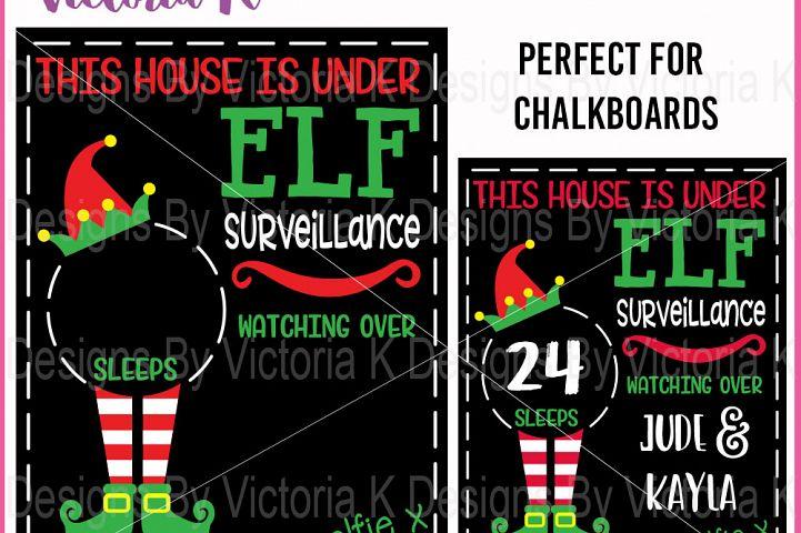 Christmas Countdown Chalkboard Cutting file, Elf Surveillance, SVG, DXF, EPS, Vinyl Cut Files