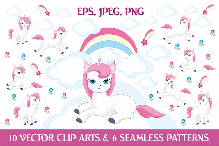 Magic unicorns. Vector elements and patterns.