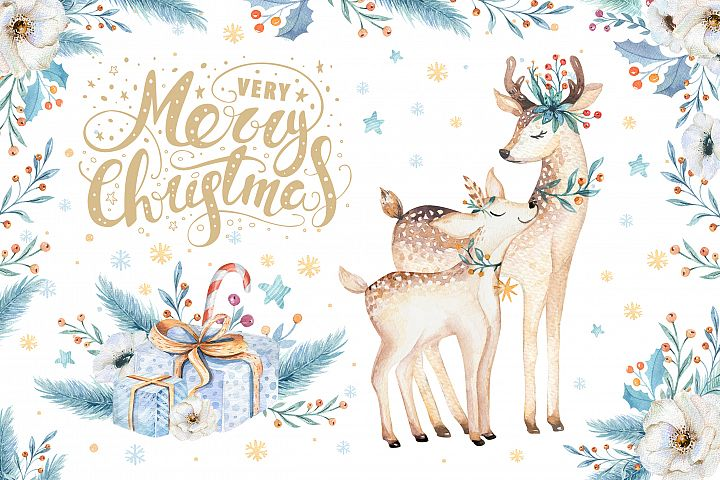 Watercolor Christmas deer
