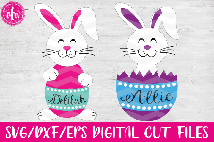 Easter Bunny Egg Duo - SVG, DXF, EPS Cut Files