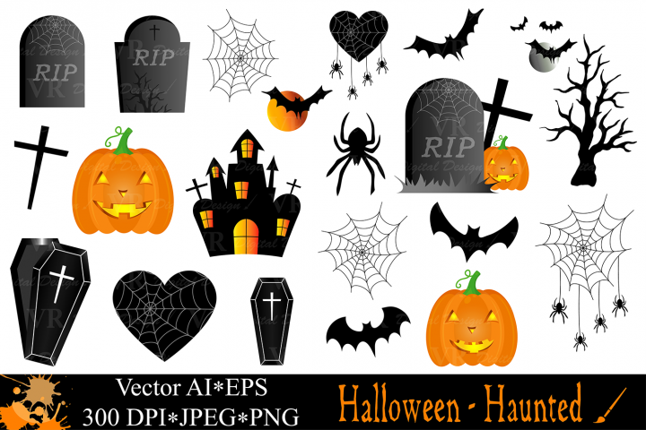 Halloween clipart with Haunted House, Haunted Tree, Pumpkins, Coffin, Bats, Spider / Halloween illustrations / Halloween vector graphics