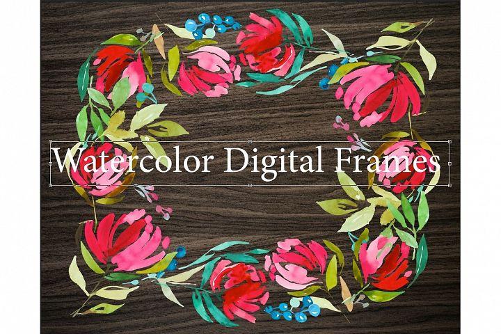 3 Watercolor Digital Frames