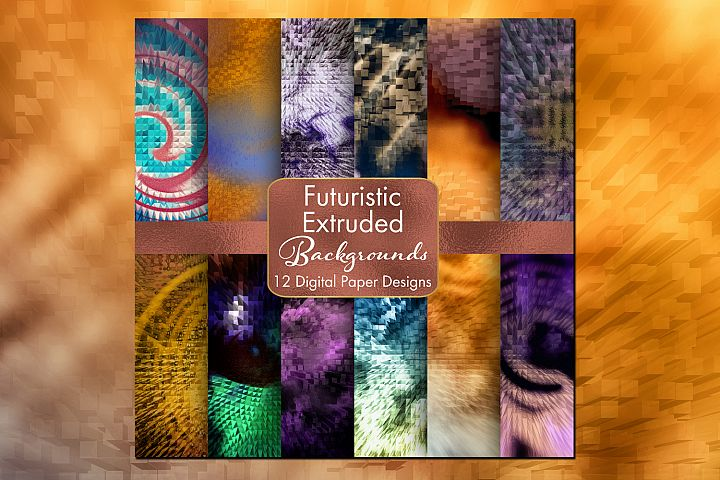 Futuristic Abstract Extruded Backgrounds - 12 Digital Paper Designs