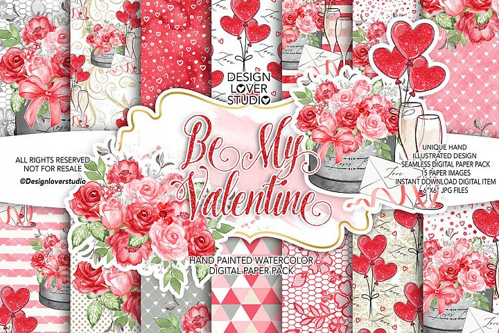 Be My Valentine digital paper pack