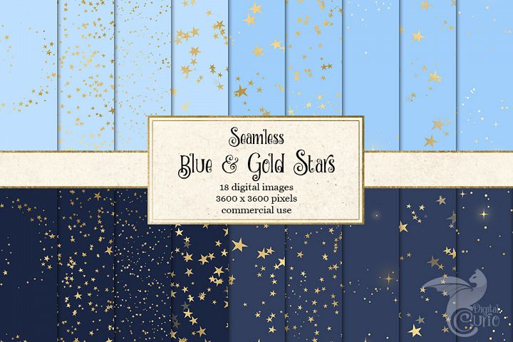 Blue and Gold Stars Digital Paper