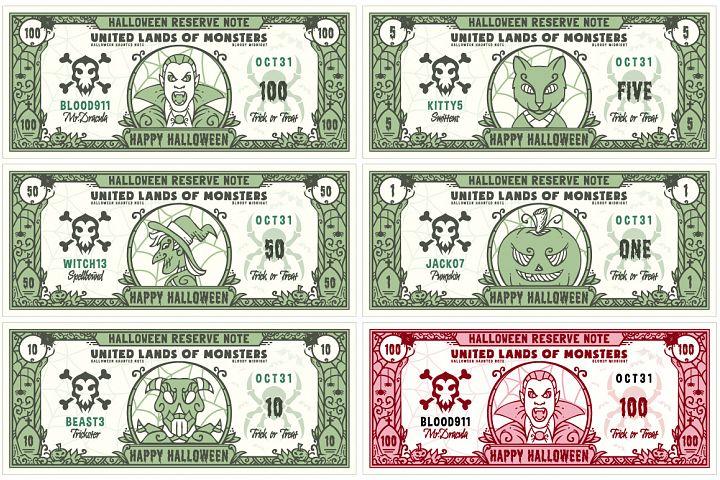 Halloween Money Banknotes Vector Set