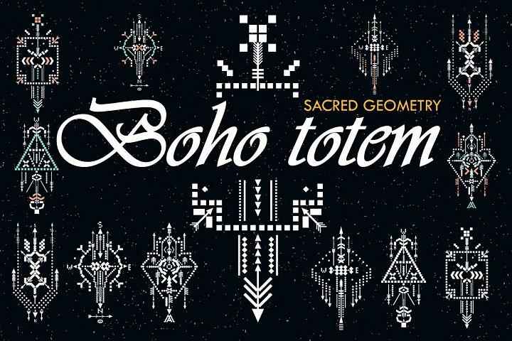 Boho totem. Sacred geometry example 1