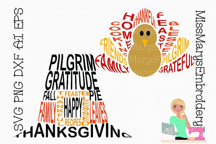 Thanksgiving Word Art Shapes SVG Cutting File PNG DXF AI EPS
