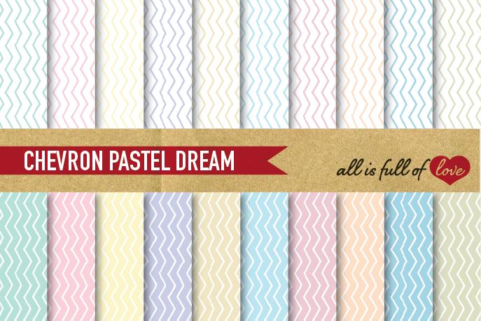 Chevron Digital Paper in Pastel Colors Background Paper Zig Zag Patterns