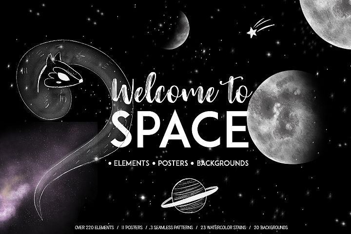 Welcome to Space clipart.Galaxy set with hand drawn elements