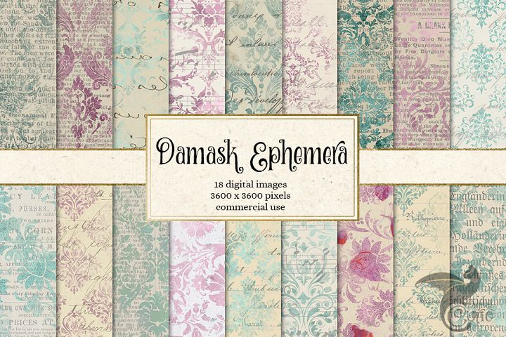 Damask Ephemera Digital Paper