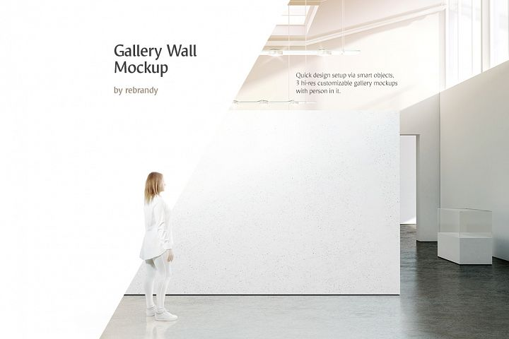 Gallery Wall Mockup (Museum interior mock up, exposition art work design mock-up)