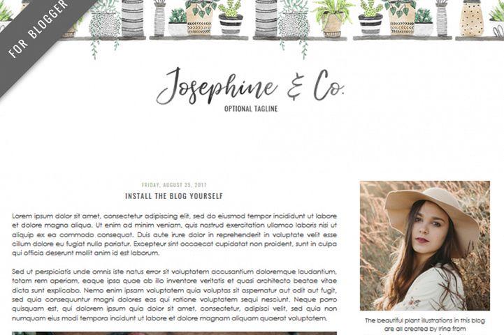 Premade Blogger Template - Mobile Responsive - Watercolor Design Blog - Josephine & Co Theme