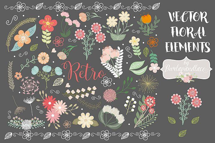 Rustic Wedding Floral Clip Art