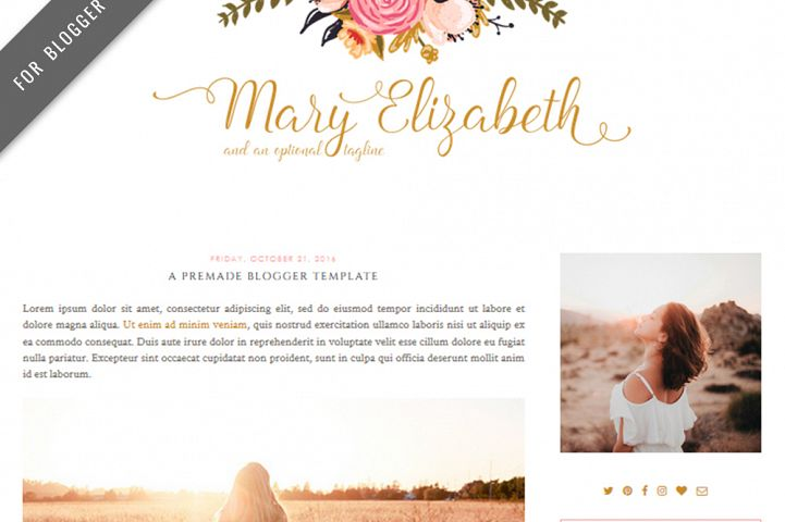 Premade Blogger Template - Mobile Responsive - Blog Design - Mary Elizabeth Theme