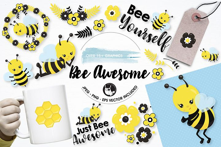 Bee awesome graphics and illustrations