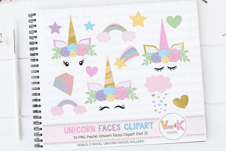 Rainbow Unicorn Clipart, Unicorn Baby Shower, Rainbow Clipart, Cloud Clipart, Pastel Unicorn Clipart, Unicorn Faces Clipart, Gold Glitter