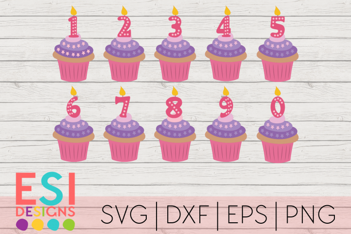 Cupcake Candle Numbers 0-9 | Birthday| SVG DXF EPS PNG