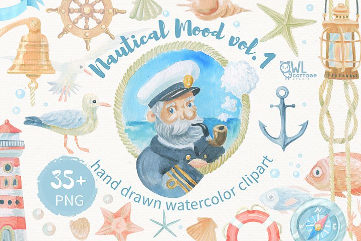 Nautical watercolor clipart collection - Free Design of The Week