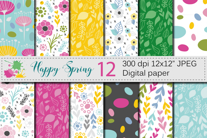 Seamless Bright Spring Digital Paper / Hand Drawn Flowers, Leaves, Foliage Seamless Pattern / Spring backgrounds