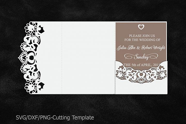 lace wedding invitation template, laser cut pocket invitation svg, template for sillhuette, cricut wedding card, trifold envelope tri fold
