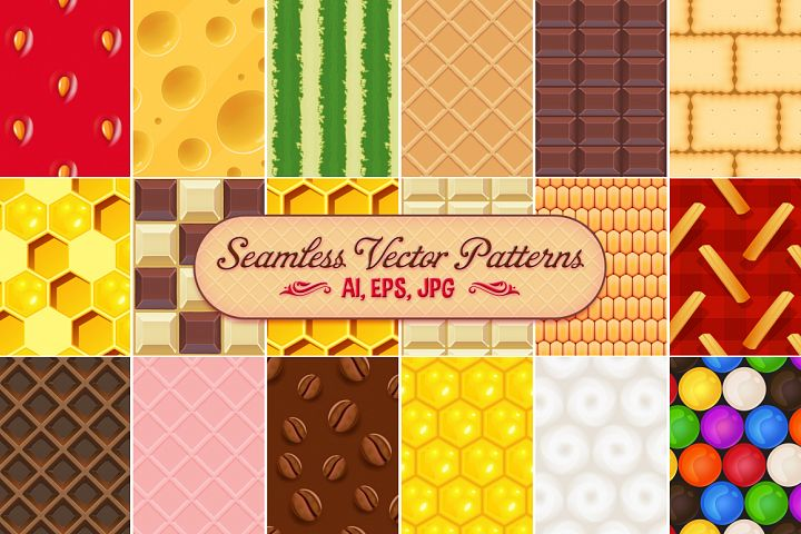 18 Food Seamless Vector Patterns
