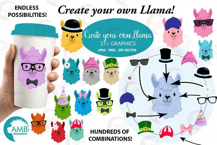 Create your own LLama, DIY Llama Funny Faces clipart, graphics, illustrations, AMB-2376