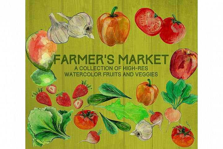 Farmers Market Watercolor Illustrations