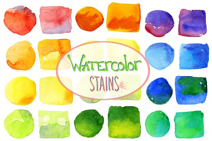 Vector bright watercolor stains