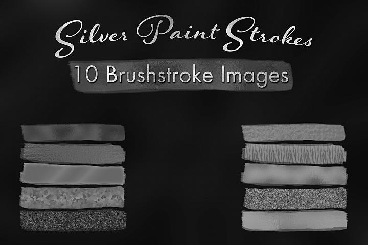 Silver Paint Strokes - 10 Brushstroke Images