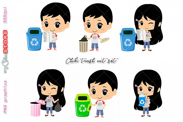 Collection of kids recycling and trash out clipart, kawaii clip art set for planner stickers, crafts, digital planning.